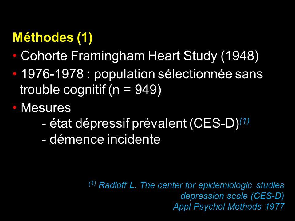 Méthodes (1) Cohorte Framingham Heart Study (1948) 1976-1978 : population sélectionnée sans trouble cognitif (n = 949) Mesures - état dépressif préval