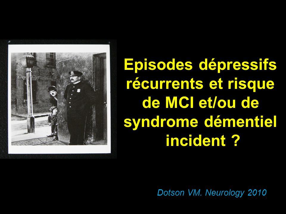 Episodes dépressifs récurrents et risque de MCI et/ou de syndrome démentiel incident ? Dotson VM. Neurology 2010