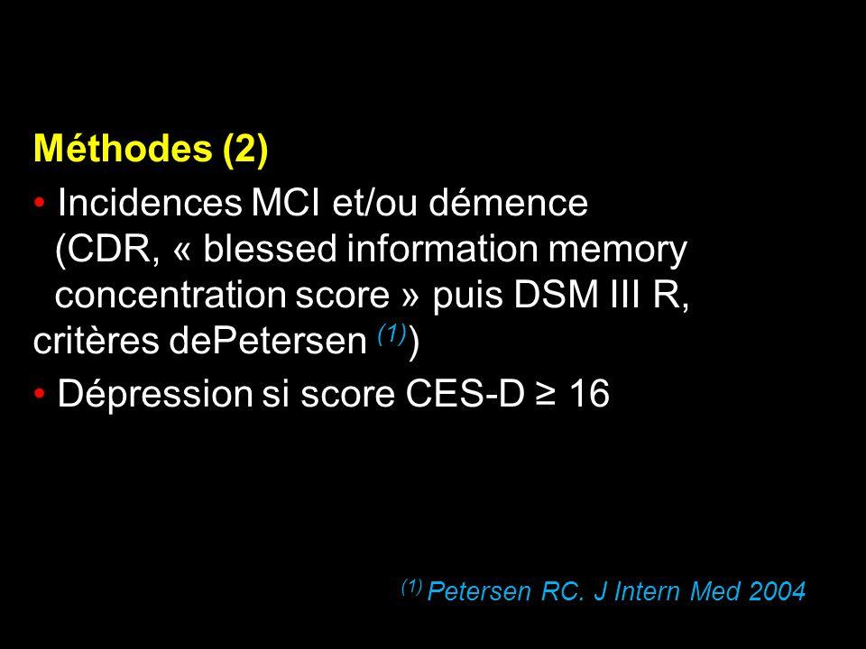 Méthodes (2) Incidences MCI et/ou démence (CDR, « blessed information memory concentration score » puis DSM III R, critères dePetersen (1) ) Dépressio