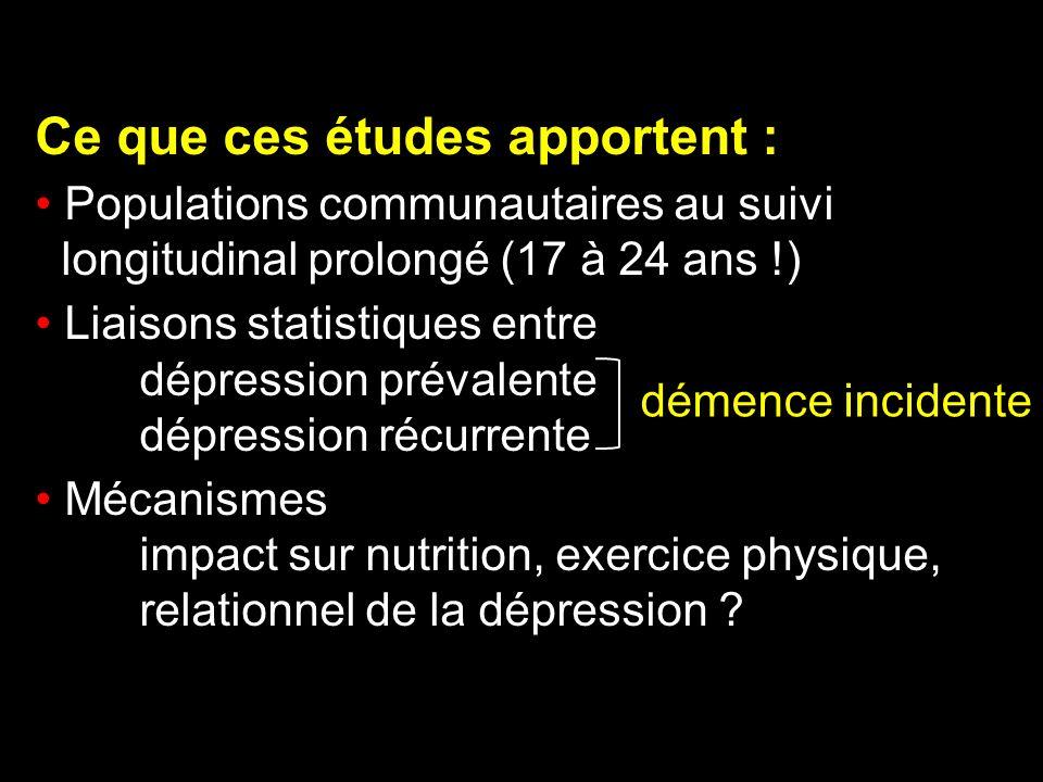 Ce que ces études apportent : Populations communautaires au suivi longitudinal prolongé (17 à 24 ans !) Liaisons statistiques entre dépression prévale