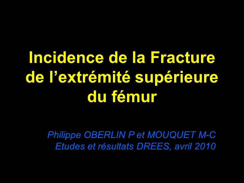 Incidence de la Fracture de lextrémité supérieure du fémur Philippe OBERLIN P et MOUQUET M-C Etudes et résultats DREES, avril 2010
