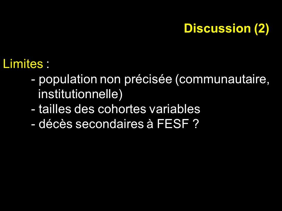 Limites : - population non précisée (communautaire, institutionnelle) - tailles des cohortes variables - décès secondaires à FESF ? Discussion (2)