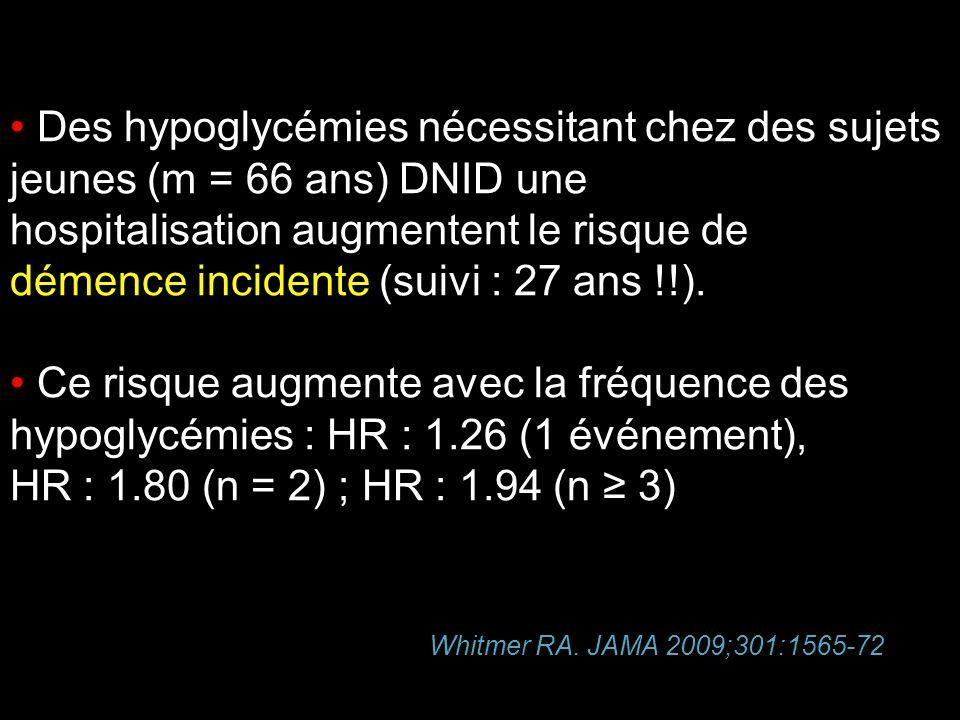 Des hypoglycémies nécessitant chez des sujets jeunes (m = 66 ans) DNID une hospitalisation augmentent le risque de démence incidente (suivi : 27 ans !