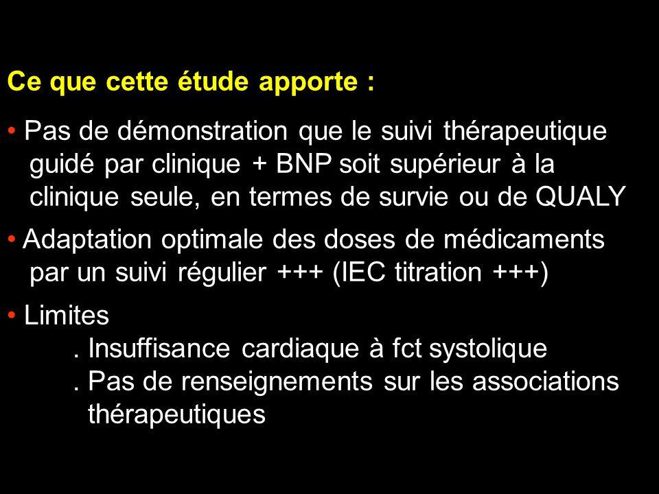 Ce que cette étude apporte : Pas de démonstration que le suivi thérapeutique guidé par clinique + BNP soit supérieur à la clinique seule, en termes de