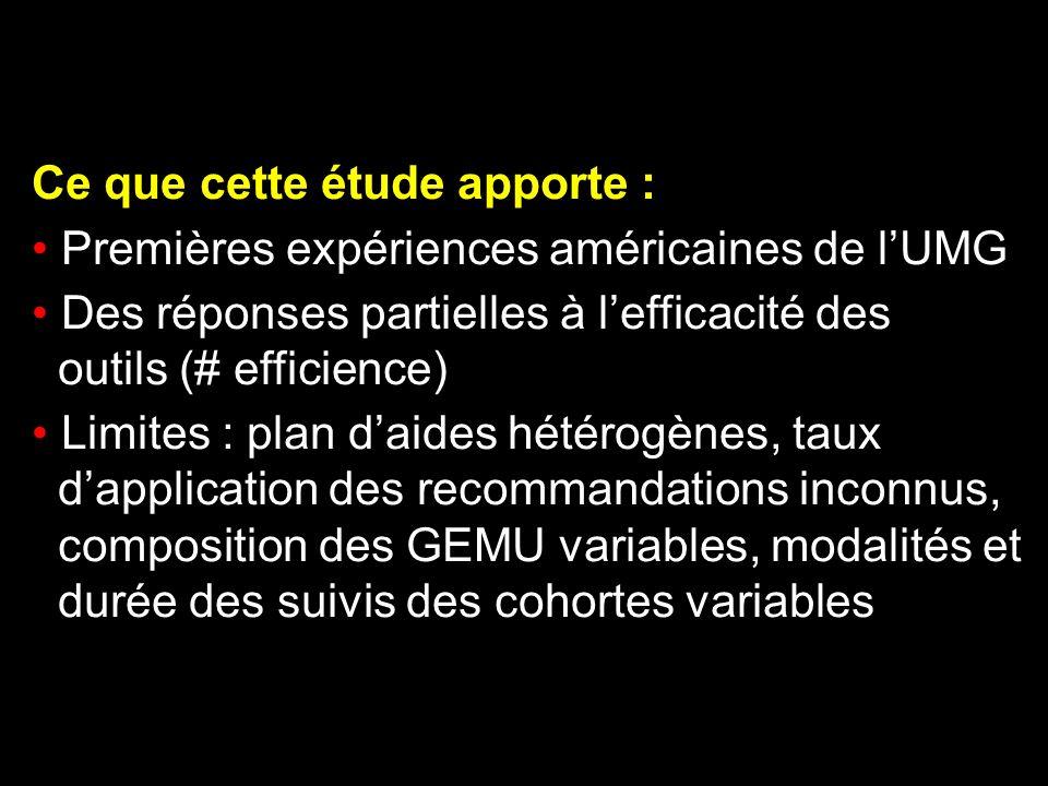 Ce que cette étude apporte : Premières expériences américaines de lUMG Des réponses partielles à lefficacité des outils (# efficience) Limites : plan