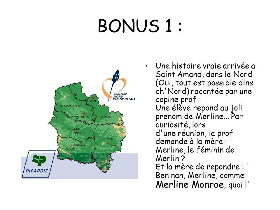 BONUS 1 : Une histoire vraie arrivée a Saint Amand, dans le Nord (Oui, tout est possible dins ch Nord) racontée par une copine prof : Une élève repond au joli prenom de Merline...