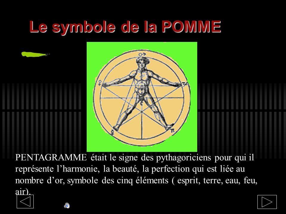 PENTAGRAMME était le signe des pythagoriciens pour qui il représente lharmonie, la beauté, la perfection qui est liée au nombre dor, symbole des cinq éléments ( esprit, terre, eau, feu, air).