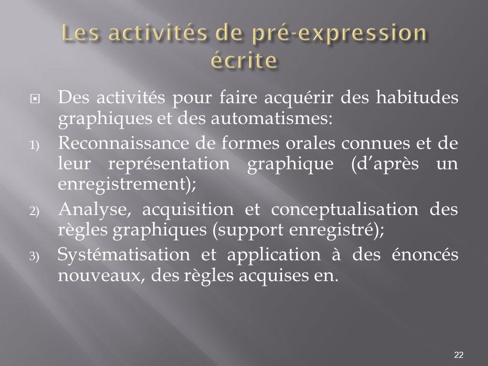 Des activités pour faire acquérir des habitudes graphiques et des automatismes: 1) Reconnaissance de formes orales connues et de leur représentation g