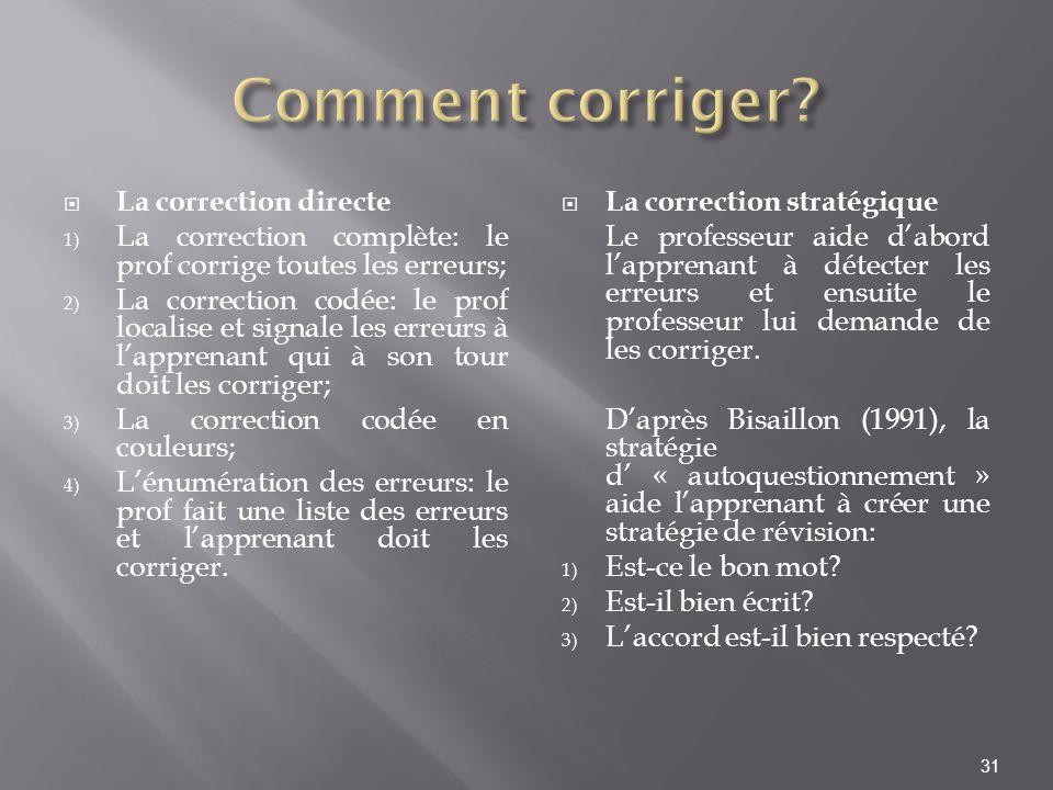 La correction directe 1) La correction complète: le prof corrige toutes les erreurs; 2) La correction codée: le prof localise et signale les erreurs à