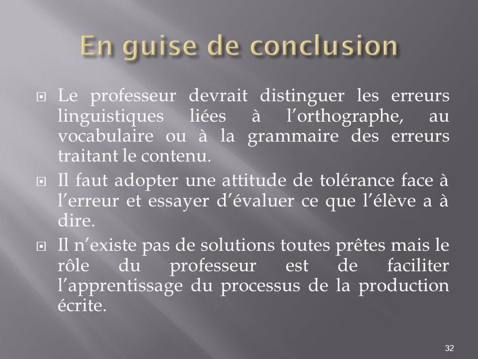 Le professeur devrait distinguer les erreurs linguistiques liées à lorthographe, au vocabulaire ou à la grammaire des erreurs traitant le contenu. Il