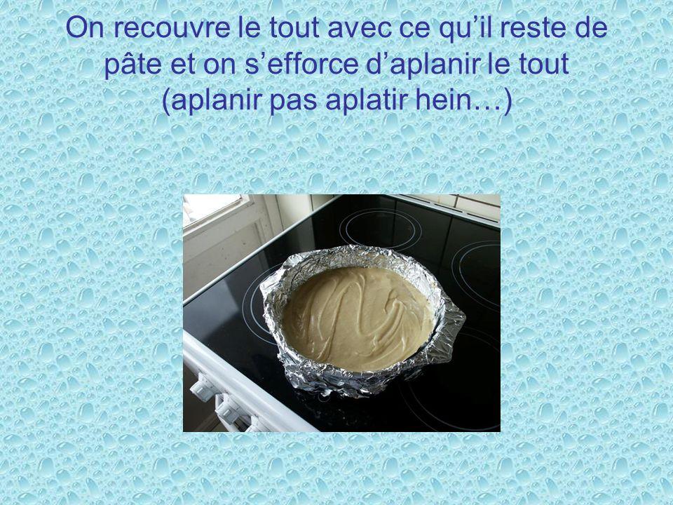 On recouvre le tout avec ce quil reste de pâte et on sefforce daplanir le tout (aplanir pas aplatir hein…)