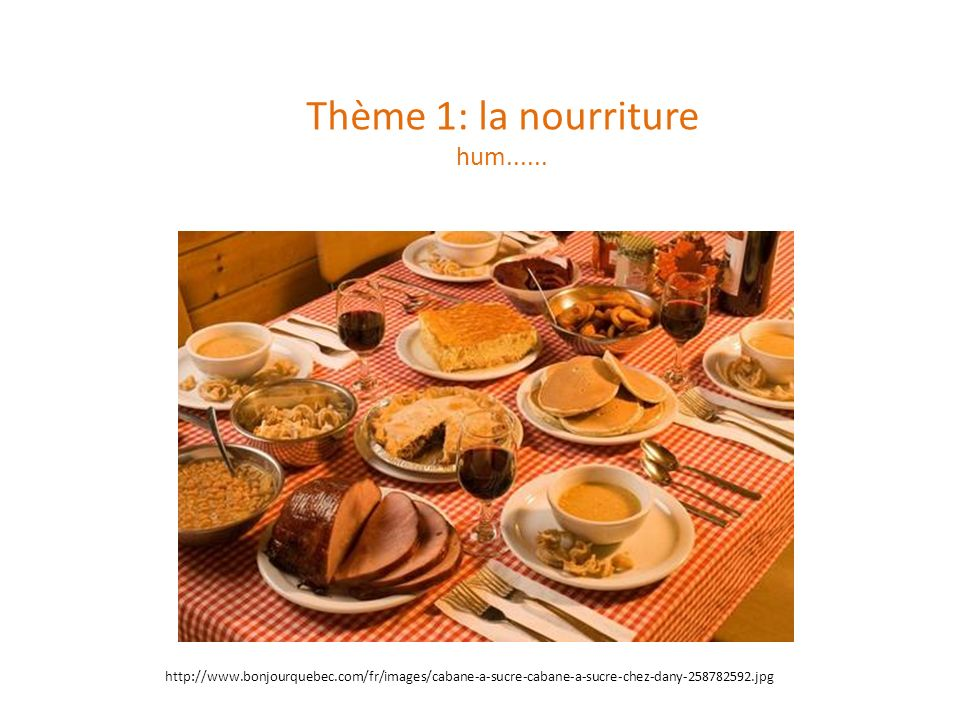 Thème 1: la nourriture hum......