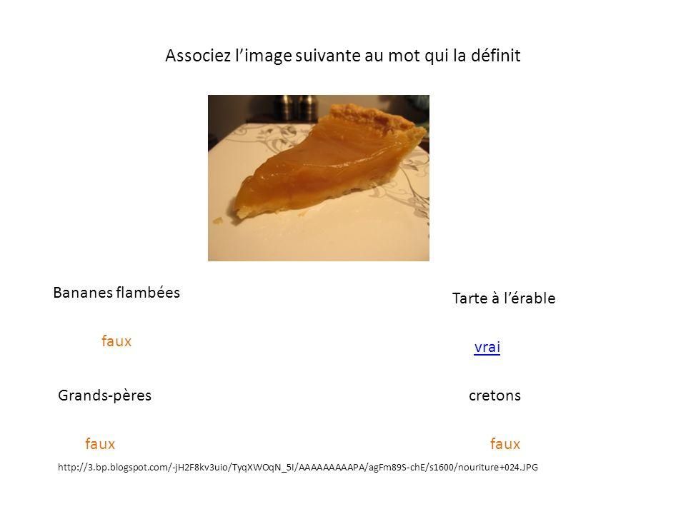 Associez limage suivante au mot qui la définit Bananes flambées Grands-pères Tarte à lérable cretons http://3.bp.blogspot.com/-jH2F8kv3uio/TyqXWOqN_5I/AAAAAAAAAPA/agFm89S-chE/s1600/nouriture+024.JPG faux vrai faux