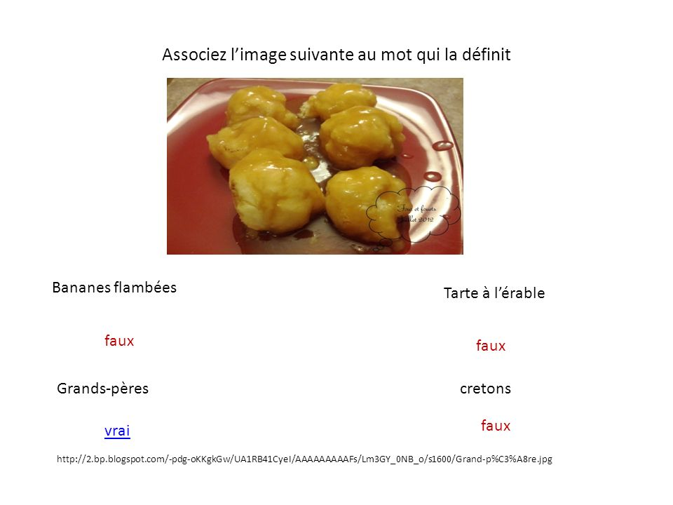 Associez limage suivante au mot qui la définit Bananes flambées Grands-pères Tarte à lérable cretons http://www.flubu.com/blog/wp-content/uploads/2012/08/cretons.jpg faux vrai faux