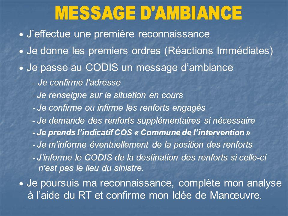 Message darrivée sur les lieux Prendre contact avec Les victimes Lexploitant Les témoins Reconnaissance Réactions immédiates Sauvetages Mise en sécuri