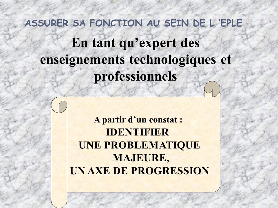 A partir dun constat : IDENTIFIER UNE PROBLEMATIQUE MAJEURE, UN AXE DE PROGRESSION En tant quexpert des enseignements technologiques et professionnels