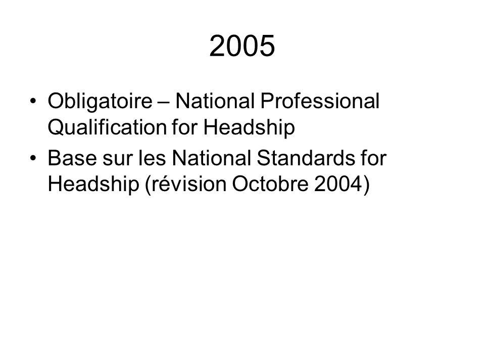 2005 Obligatoire – National Professional Qualification for Headship Base sur les National Standards for Headship (révision Octobre 2004)