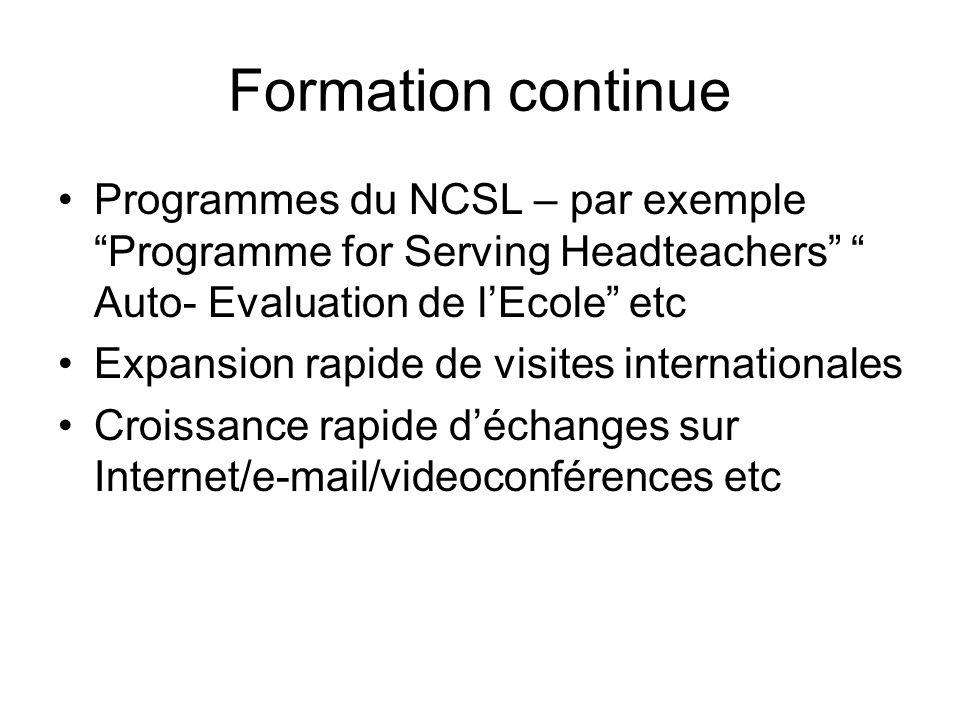 Formation continue Programmes du NCSL – par exemple Programme for Serving Headteachers Auto- Evaluation de lEcole etc Expansion rapide de visites inte