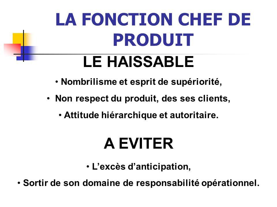 LA FONCTION CHEF DE PRODUIT LE HAISSABLE Nombrilisme et esprit de supériorité, Non respect du produit, des ses clients, Attitude hiérarchique et autor