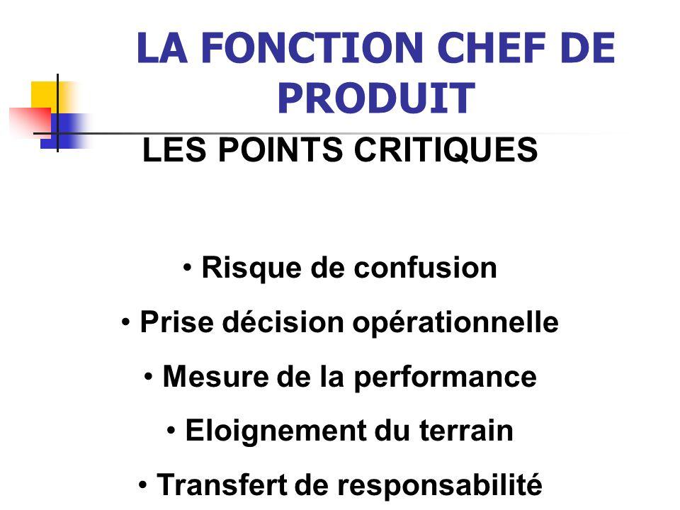 LA FONCTION CHEF DE PRODUIT LES POINTS CRITIQUES Risque de confusion Prise décision opérationnelle Mesure de la performance Eloignement du terrain Tra