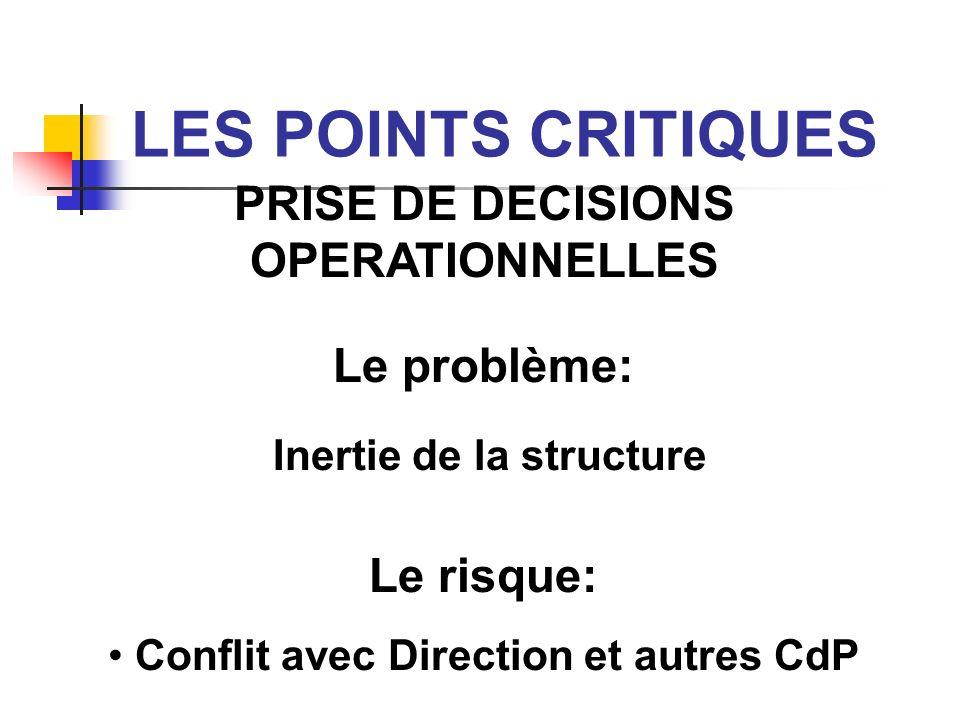 LES POINTS CRITIQUES PRISE DE DECISIONS OPERATIONNELLES Le problème: Inertie de la structure Le risque: Conflit avec Direction et autres CdP