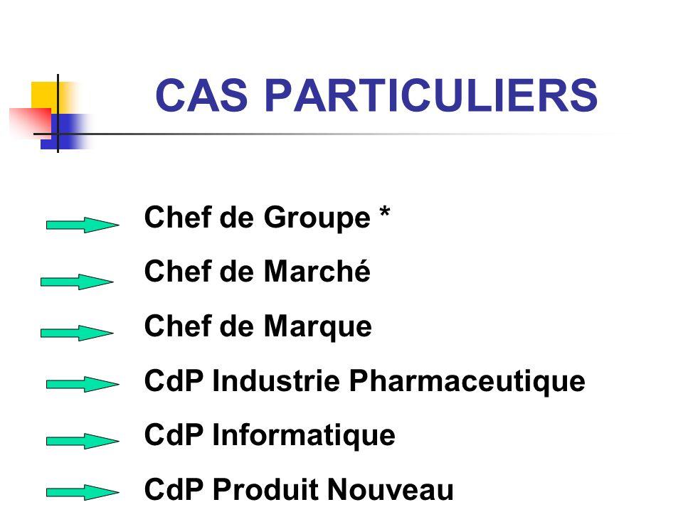 CAS PARTICULIERS Chef de Groupe * Chef de Marché Chef de Marque CdP Industrie Pharmaceutique CdP Informatique CdP Produit Nouveau