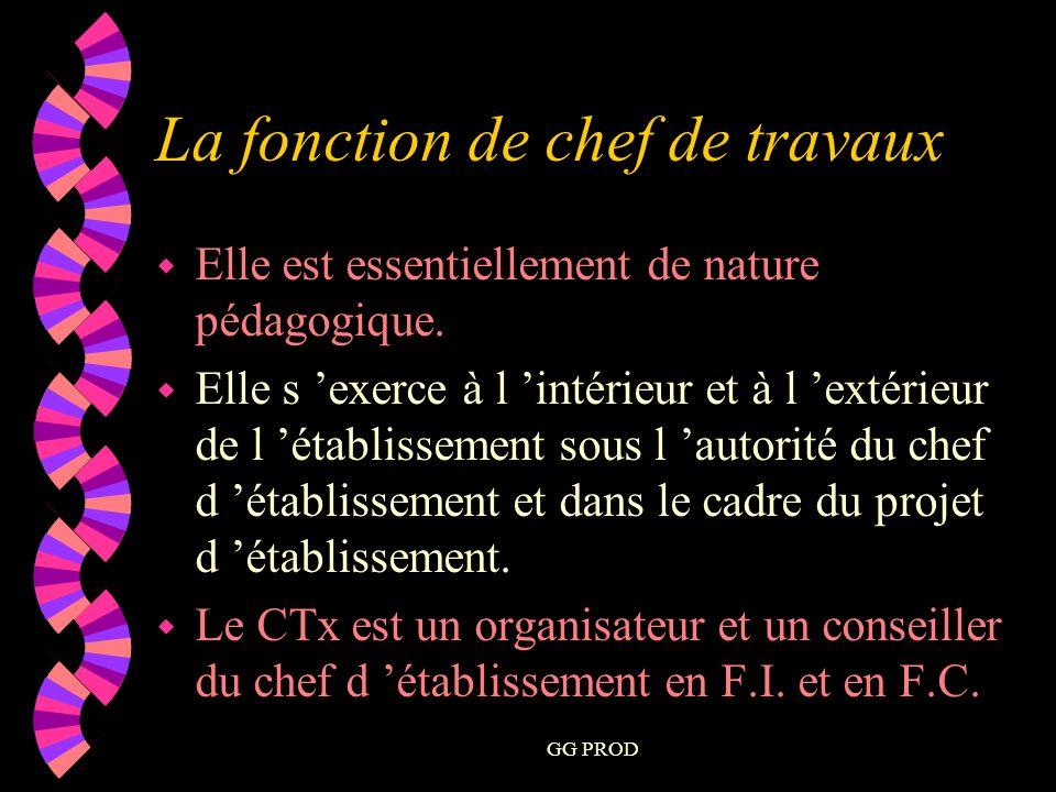 GG PROD La fonction de chef de travaux w Elle est essentiellement de nature pédagogique.