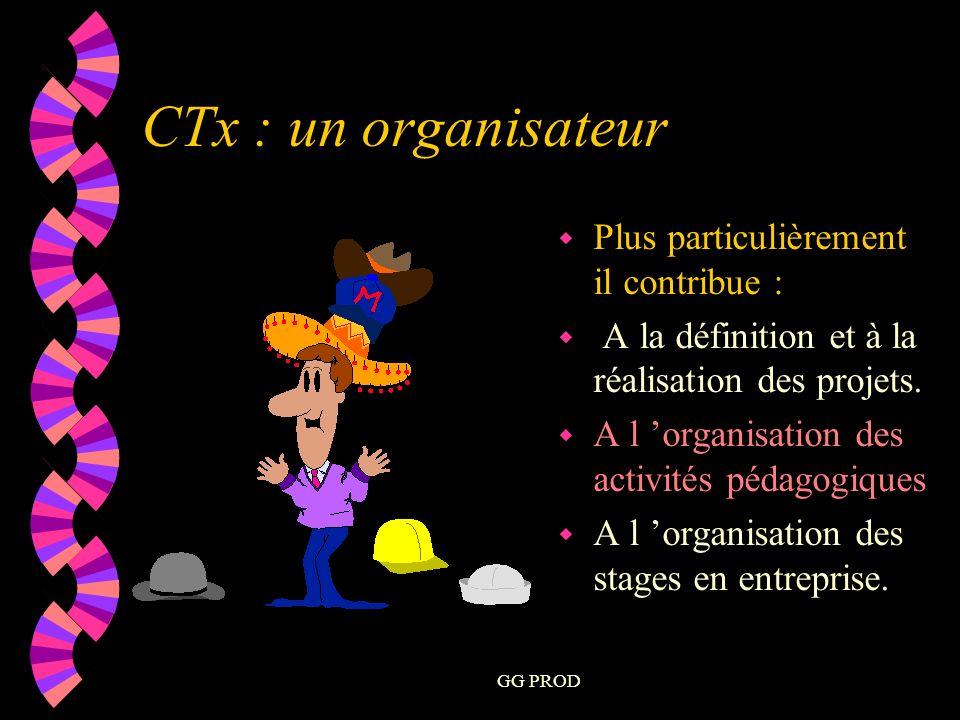 GG PROD w Plus particulièrement il contribue : w A la définition et à la réalisation des projets.