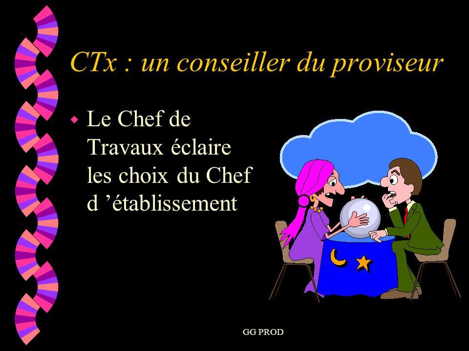 GG PROD w Le Chef de Travaux éclaire les choix du Chef d établissement CTx : un conseiller du proviseur