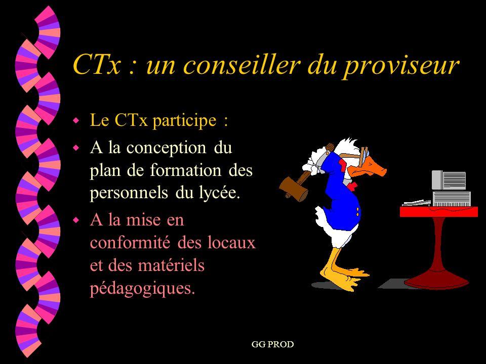 GG PROD w Le CTx participe : w A la conception du plan de formation des personnels du lycée.