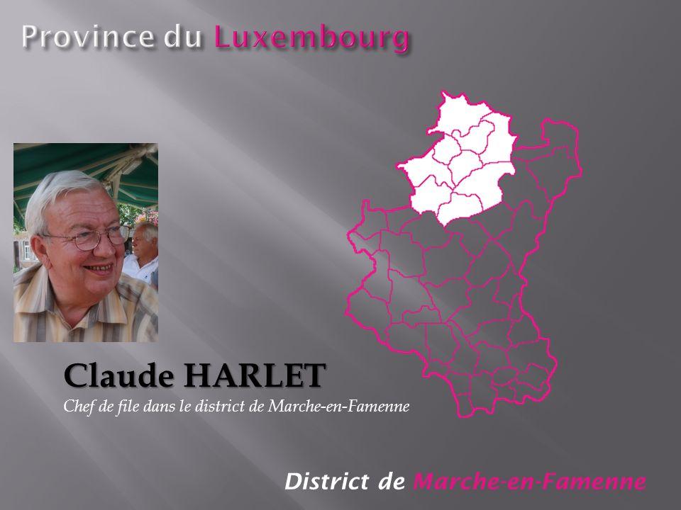 District de Marche-en-Famenne Claude HARLET Chef de file dans le district de Marche-en-Famenne