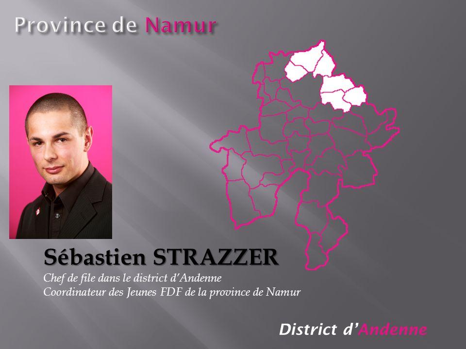 District dAndenne Sébastien STRAZZER Chef de file dans le district dAndenne Coordinateur des Jeunes FDF de la province de Namur