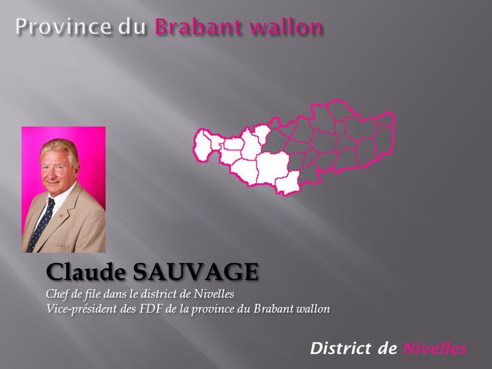 District de Nivelles Claude SAUVAGE Chef de file dans le district de Nivelles Vice-président des FDF de la province du Brabant wallon Claude SAUVAGE C