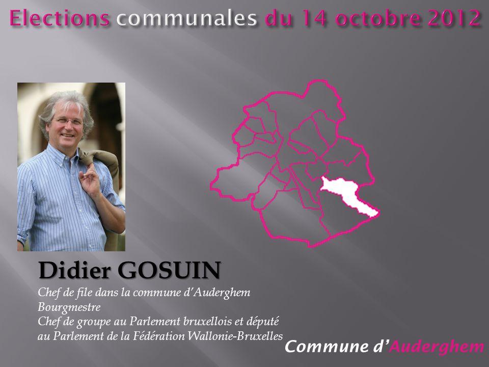 Commune dAuderghem Didier GOSUIN Chef de file dans la commune dAuderghem Bourgmestre Chef de groupe au Parlement bruxellois et député au Parlement de