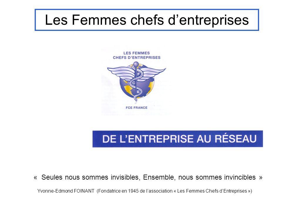 Les Femmes chefs dentreprises « Seules nous sommes invisibles, Ensemble, nous sommes invincibles » Yvonne-Edmond FOINANT (Fondatrice en 1945 de lassoc