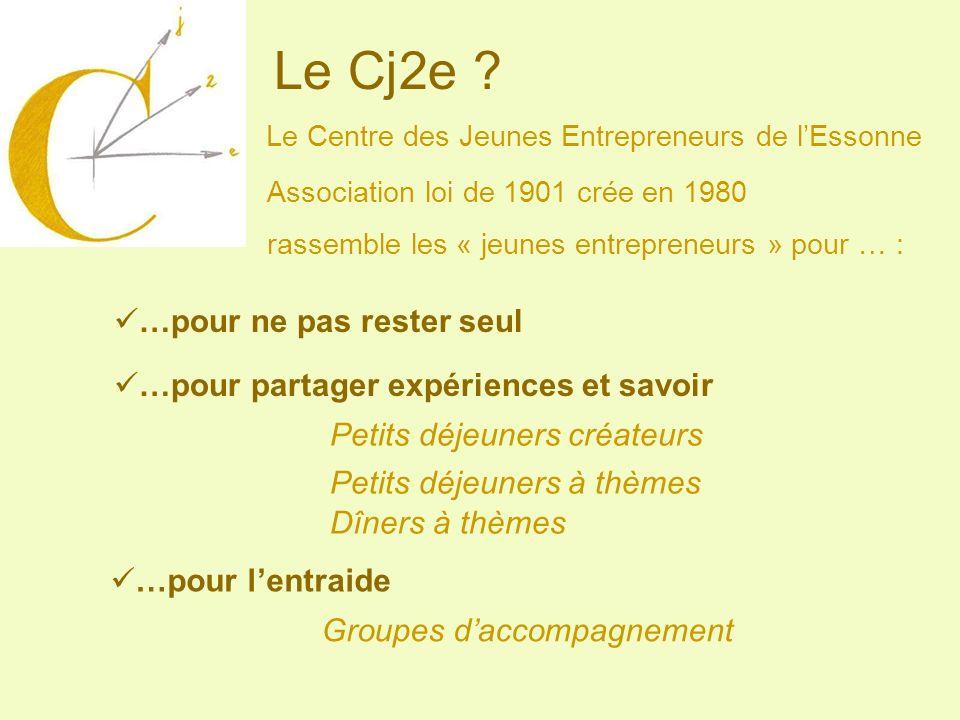 Le Cj2e ? Le Centre des Jeunes Entrepreneurs de lEssonne Association loi de 1901 crée en 1980 rassemble les « jeunes entrepreneurs » pour … : …pour ne