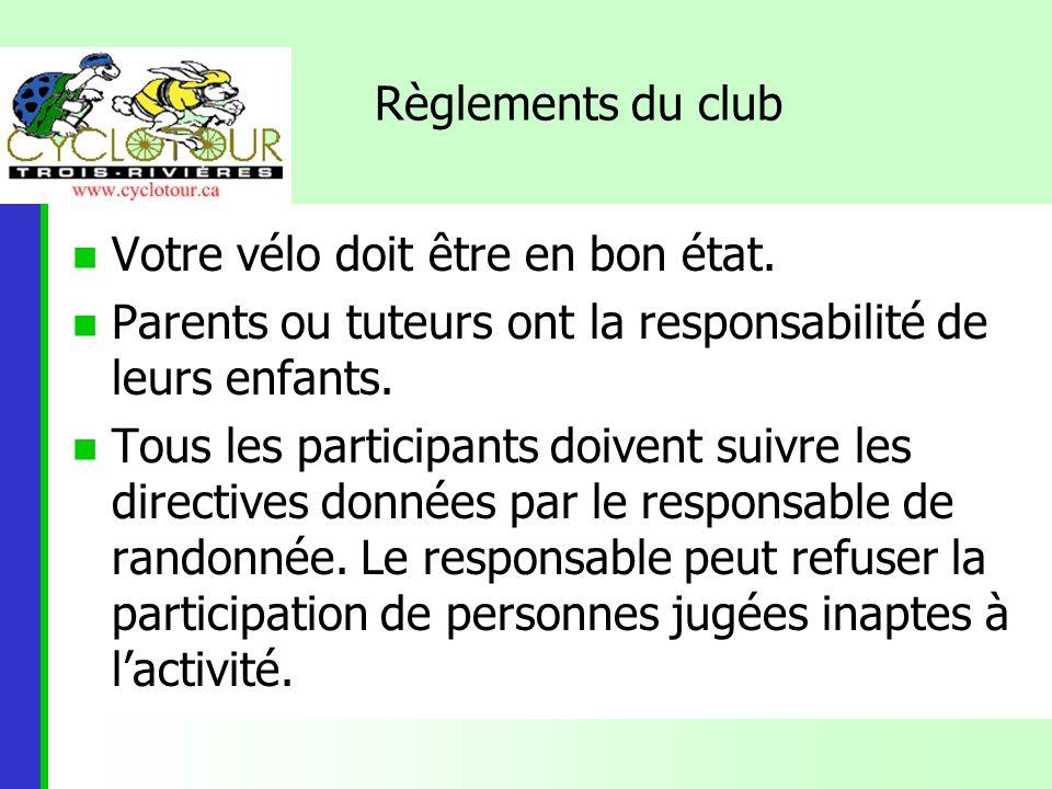 Règlements du Club (Suite) Baladeur et consommation dalcool interdits Le port du casque de vélo est obligatoire Toute personne ne respectant pas les règlements du Club sera expulsée.