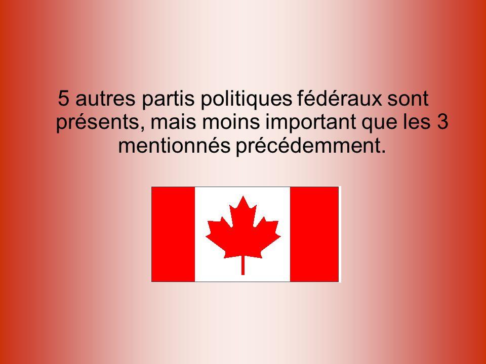 5 autres partis politiques fédéraux sont présents, mais moins important que les 3 mentionnés précédemment.