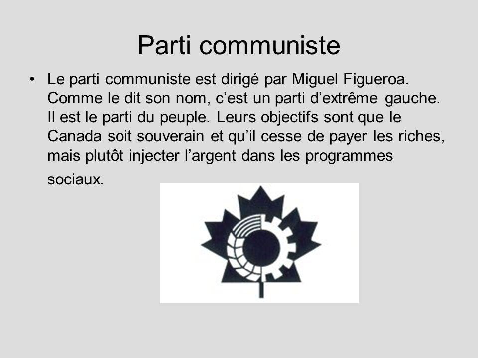 Parti communiste Le parti communiste est dirigé par Miguel Figueroa. Comme le dit son nom, cest un parti dextrême gauche. Il est le parti du peuple. L