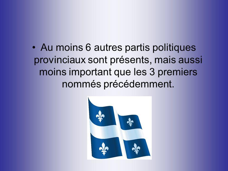 Au moins 6 autres partis politiques provinciaux sont présents, mais aussi moins important que les 3 premiers nommés précédemment.