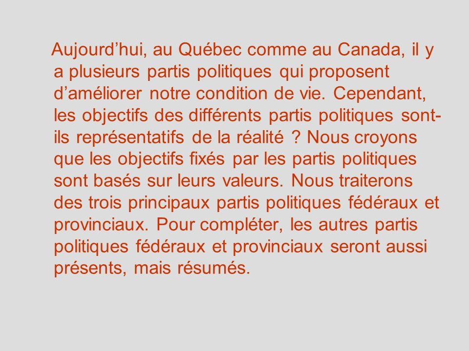 Aujourdhui, au Québec comme au Canada, il y a plusieurs partis politiques qui proposent daméliorer notre condition de vie. Cependant, les objectifs de