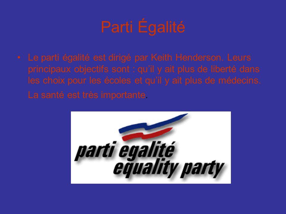 Parti Égalité Le parti égalité est dirigé par Keith Henderson. Leurs principaux objectifs sont : quil y ait plus de liberté dans les choix pour les éc