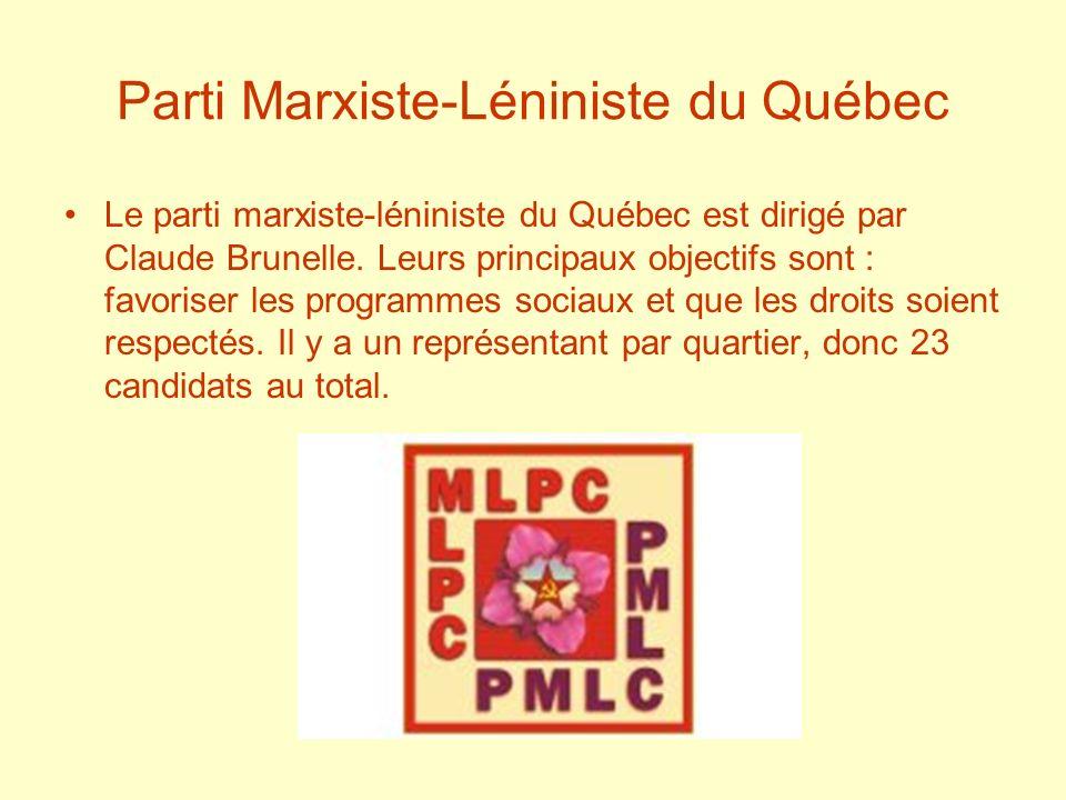 Parti Marxiste-Léniniste du Québec Le parti marxiste-léniniste du Québec est dirigé par Claude Brunelle. Leurs principaux objectifs sont : favoriser l