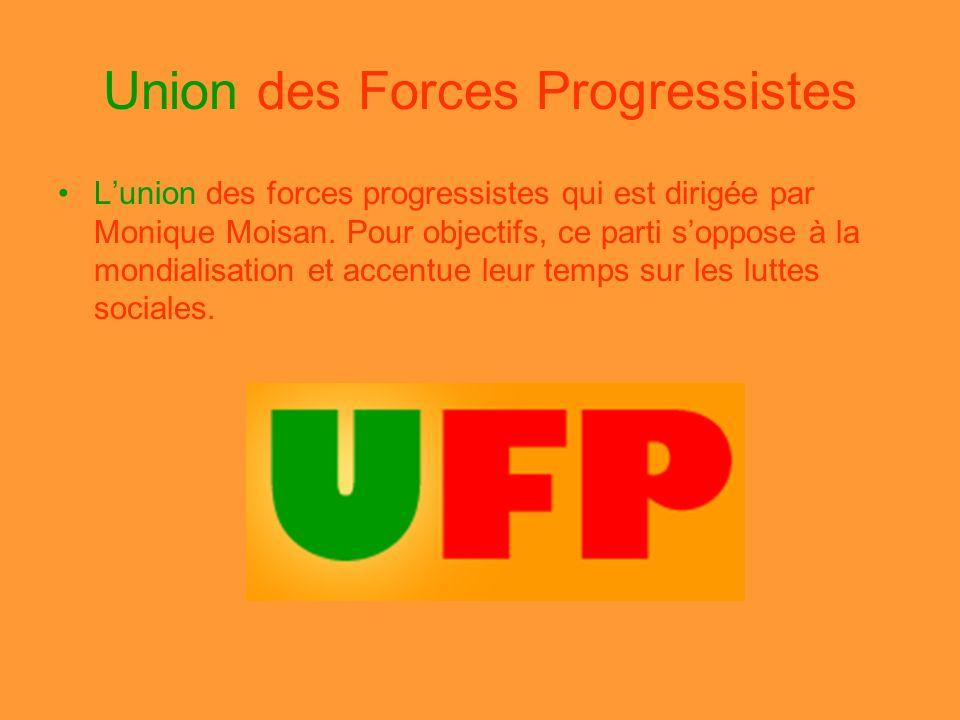 Union des Forces Progressistes Lunion des forces progressistes qui est dirigée par Monique Moisan. Pour objectifs, ce parti soppose à la mondialisatio