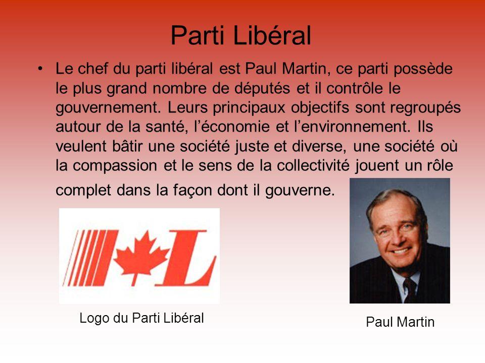 Parti Libéral Le chef du parti libéral est Paul Martin, ce parti possède le plus grand nombre de députés et il contrôle le gouvernement. Leurs princip