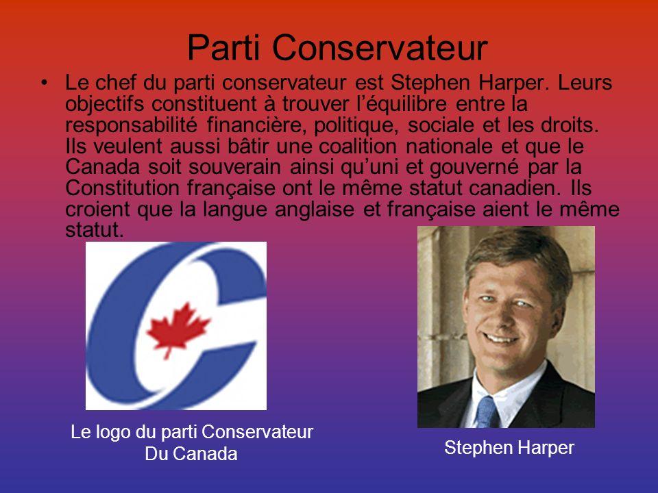 Parti Conservateur Le chef du parti conservateur est Stephen Harper. Leurs objectifs constituent à trouver léquilibre entre la responsabilité financiè