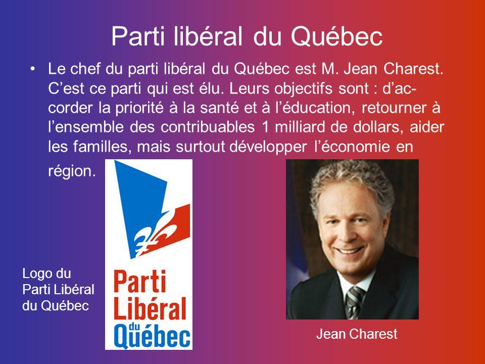 Parti libéral du Québec Le chef du parti libéral du Québec est M. Jean Charest. Cest ce parti qui est élu. Leurs objectifs sont : dac- corder la prior