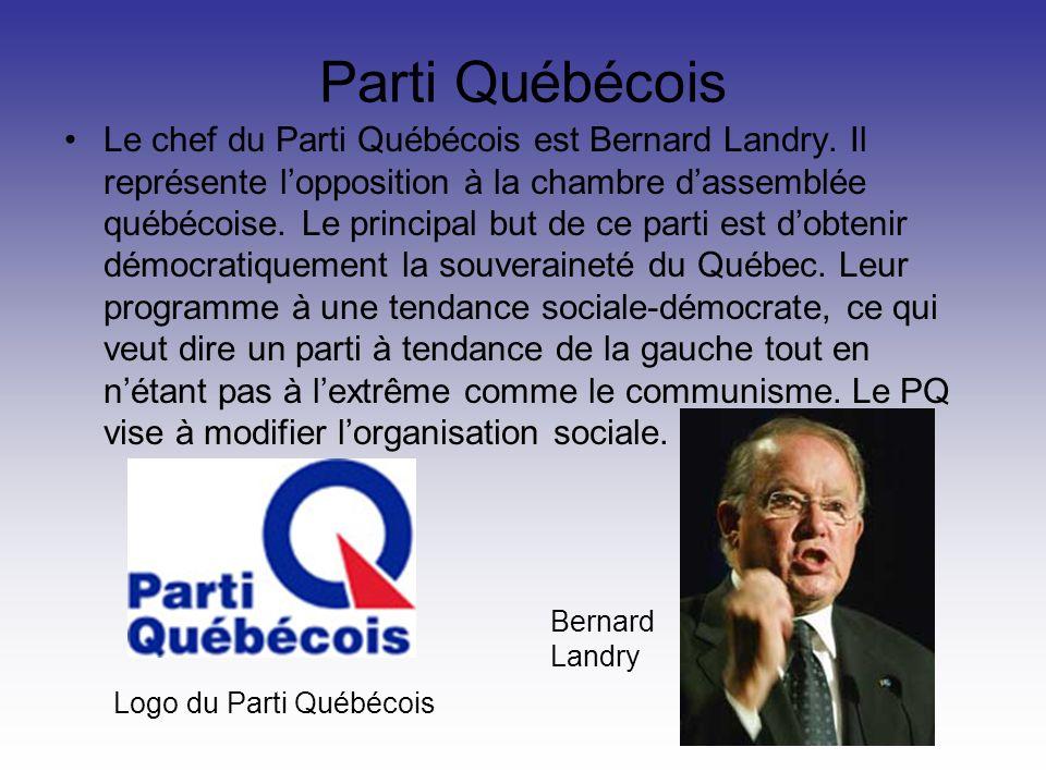 Parti Québécois Le chef du Parti Québécois est Bernard Landry. Il représente lopposition à la chambre dassemblée québécoise. Le principal but de ce pa