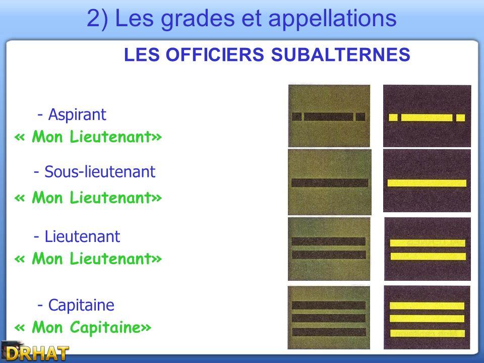 LES OFFICIERS SUBALTERNES - Aspirant - Lieutenant - Capitaine - Sous-lieutenant « Mon Lieutenant» « Mon Capitaine» 2) Les grades et appellations