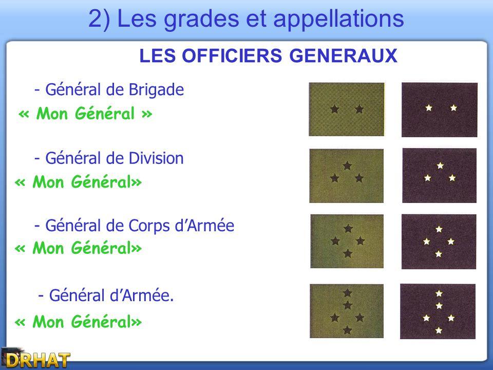 LES OFFICIERS GENERAUX - Général de Brigade - Général de Corps dArmée - Général de Division « Mon Général » - Général dArmée. « Mon Général» 2) Les gr